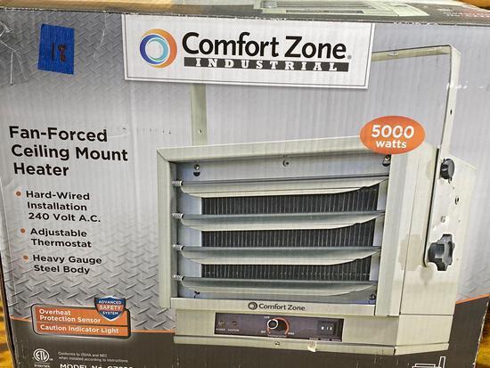 Comfort zone fan forced ceiling mount heater