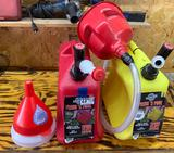 Lightly used gas cans with funnels
