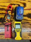 FLUKE 322 clamp meter, Klein tools VDV scout Pro, SUPCO m500 testing unit, and GB instruments