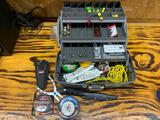 Fishing tackle box including hooks catfish bait pliers fishing line sinkers plus