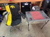 Iowa Hawkeye chair and foldable table