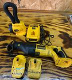 Dewalt 18 V reciprocating saw light battery charger and two batteries