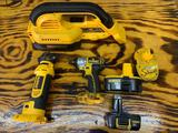Dewalt 18 V half-inch impact, cordless cut out tool heavy duty cordless vacuum and three batteries