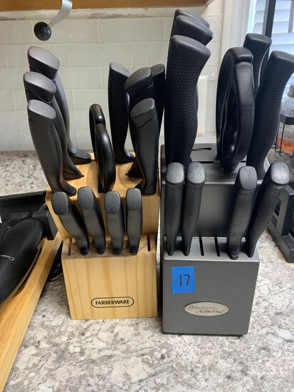 Three knife sets including one electric knife