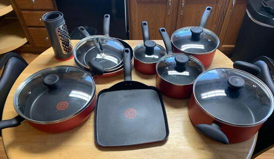 T-Fal pots and pan set with cheese grater