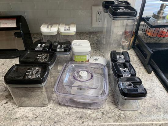Storage containers with snap lids airtight seal