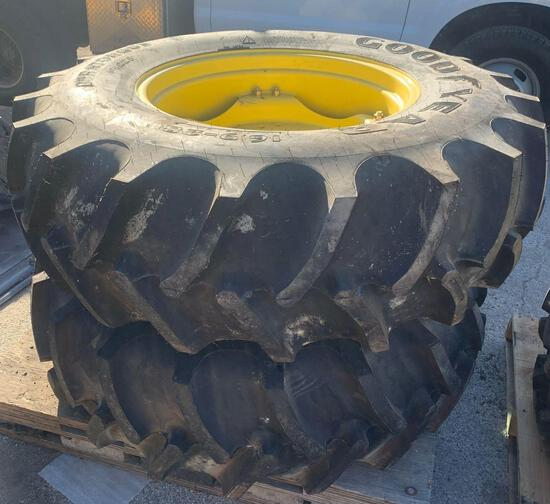 2x-Goodyear 16.9?28 tires and rims for a John Deere tractor brand new tires
