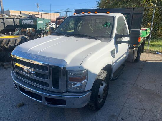 2008 Ford F350 6.8L Triton V 10 pickup with dump bed and Joe boxes on the side