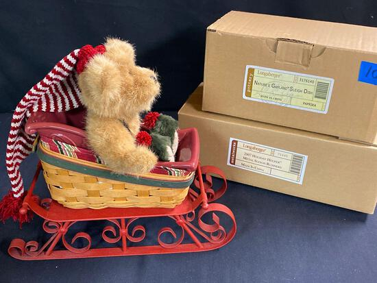 2007 holiday helper sleigh, sleigh dish and bear
