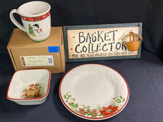 Natures Garland plate, bowl, holiday mug & sign