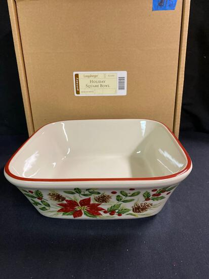 Natures garland holiday square bowl