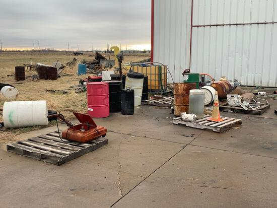 Scrap contents outside of king air building-Including Airplane Items, Cement Roller, no vehicles