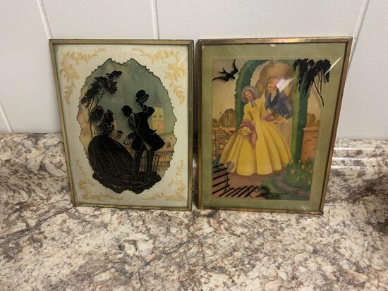 Reverse painted glass bubble frame antique