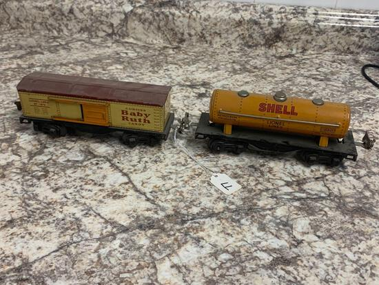 Lionel Baby Ruth Box car and Shell oil tanker
