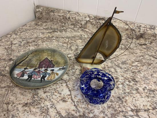 Glass blown signed piece, P Buckley moss and signed sailboat