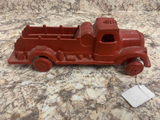 Cast iron red firetruck unbranded