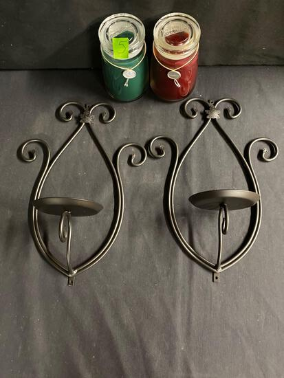 Wrought iron Candleholders and candles 2 x $