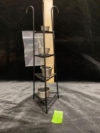 Miniature right iron Stand and Pewter Baskets