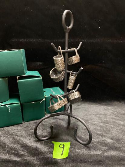 Miniature Pewter Baskets on tree