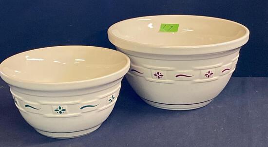 Large and medium mixing bowls 2 x $