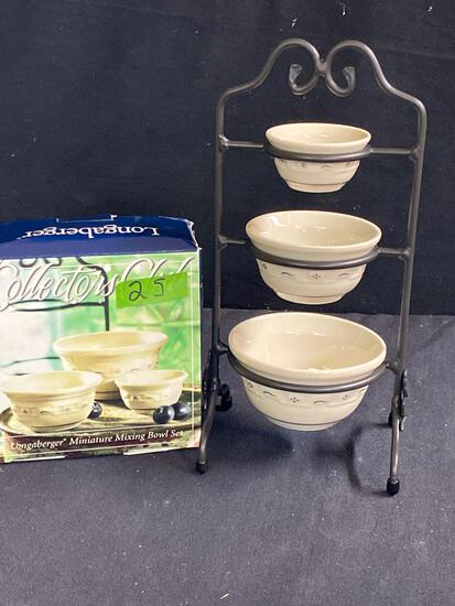Miniature mixing bowl set and stand 2 x $