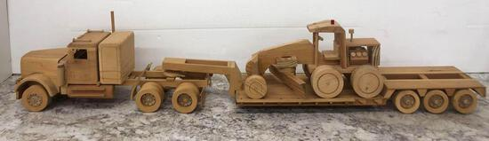 HiLoader and LowBoy Truck and Trailer handmade out of wood