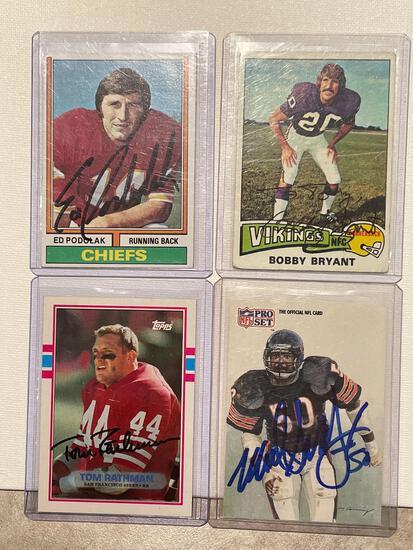 4x-Podolak, Bryant, Rathman, and Singletary Autographed Cards