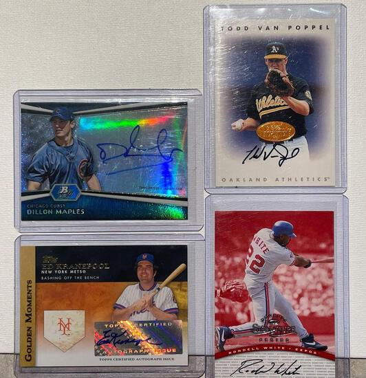 4x-Maples, Kranepool, Van Poppel, and White autographed cards