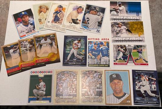 Baseballs cards see pics including Jeter, Harper, Jackson, Clemente, Griffey plus