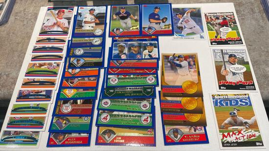 Lot of baseball cards including bonds, Rodriguez, Thomas, Jeter, Ortiz plus