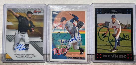 3x-Mitch Keller and 2 Pat Neshek Autograph cards