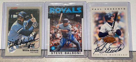 3x-Aikens, Balboni and Sorrento Autographed Cards