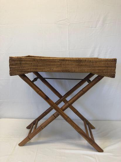 Wicker tray and stand