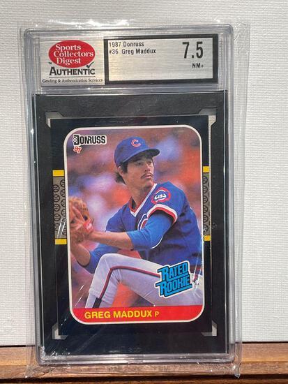 1987 Donruss Greg Maddux Rookie card graded 7.5