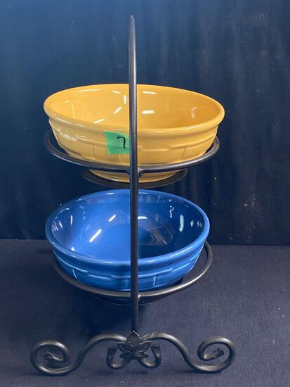 Two cereal bowls and Wrought iron Holder 2 x $