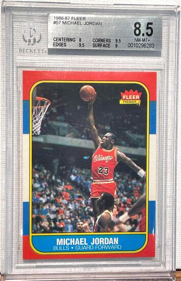1986-87 Fleer Michael Jordan Rookie card graded 8.5 Beckett