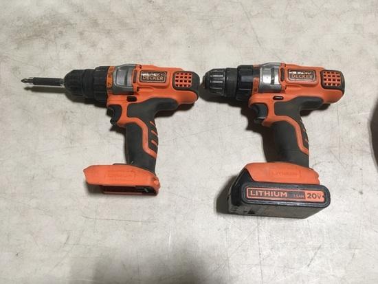 Black & Decker Cordless Drills Qty 2