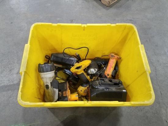 Plastic Tote w/ Power Tools