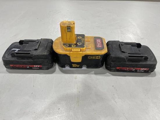 18V Batteries, Qty. 3
