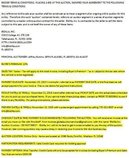 PLEASE READ - TERMS & CONDITIONS OF AUCTION