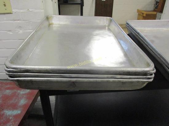 "(4) Aluminum Cake Pans, Approx. 25 1/4"" x 17 1/4"""
