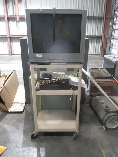"3 Tier AV Cart with Emerson 27"" Television"