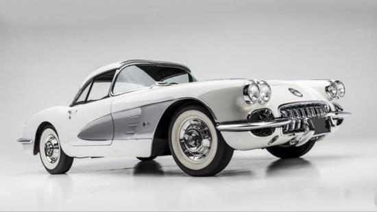 1958 Corvette Dual 4 bbl carbs Snow Crest white/silver -Sat 4:00