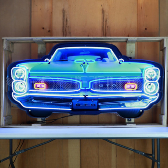"""GTO GRILL NEON SIGN IN STEEL CAN--60""""w x 29""""h x 6""""d"""