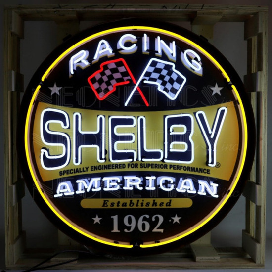 """SHELBY RACING NEON SIGN IN STEEL CAN--36""""w x 36""""h x 6""""d"""