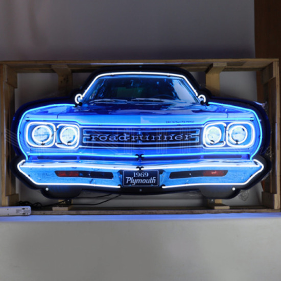 PLYMOUTH ROAD RUNNER GRILL NEON SIGN IN STEEL CAN