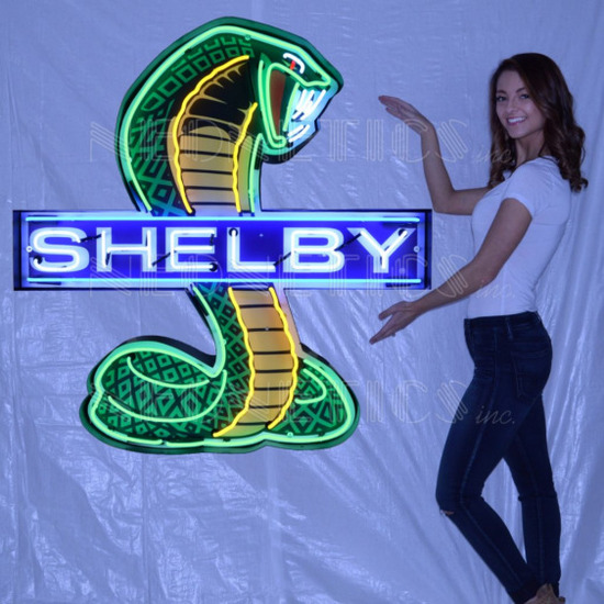 """SHELBY COBRA NEON SIGN IN SHAPED STEEL CAN--43""""w x 45""""h x 6""""d"""