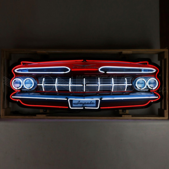 """IMPALA GRILL NEON SIGN IN STEEL CAN--60""""w x 30""""h x 6""""d"""