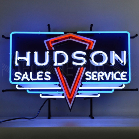 "HUDSON NEON SIGN w/ BACKING--26""w x 18""h x 4""d"