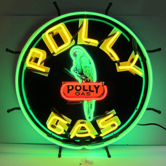 """""""RESERVE MET""""  POLLY GAS NEON SIGN w/ BACKING--17""""w x 24""""h x 4""""d"""